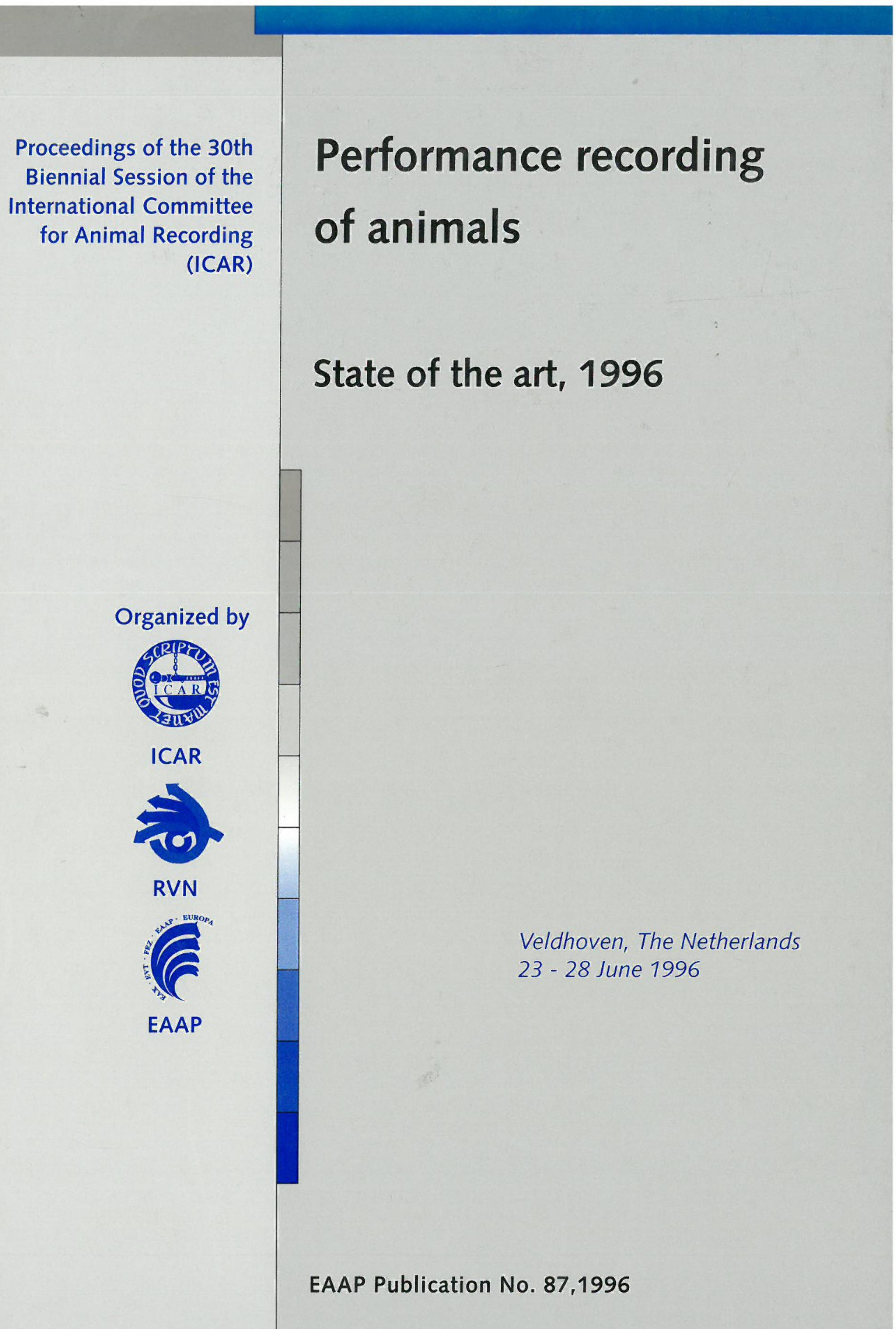 Performance recording of animals – State of the art, 1996